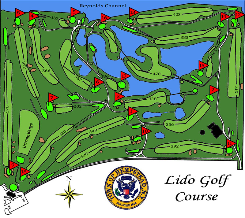 Lido Golf Club | Lido Beach, NY | Public Long Island Course ... Golf Course Maps With Yardage on golf course layout maps, golf green maps, golf courses map of us, golf yardage book,